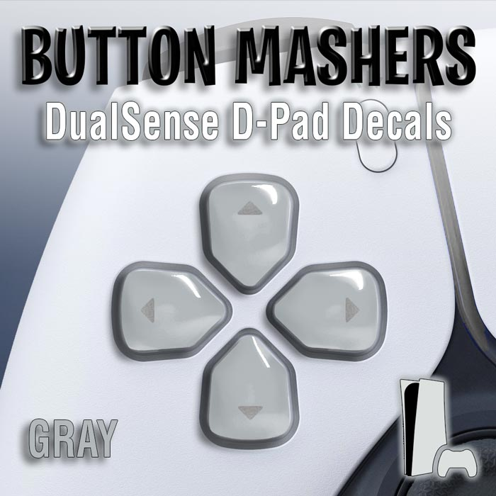 Button Mashers – DualSense D-Pad Decals (Gray)