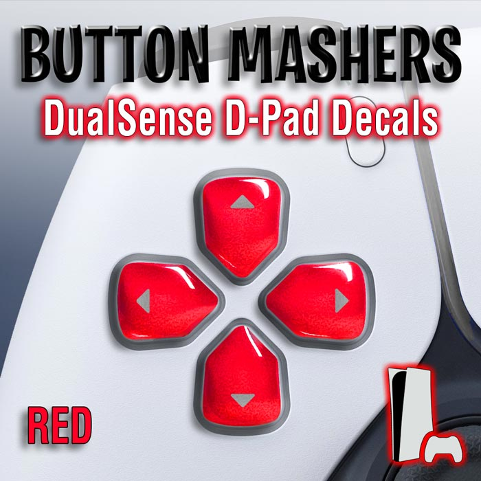 Button Mashers – DualSense D-Pad Decals (Red)