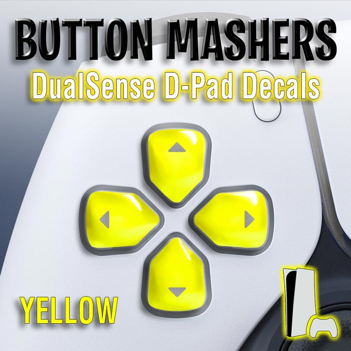 Button Mashers – DualSense D-Pad Decals (Yellow)
